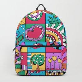 Inchie Doodle Design - Blue Red - Spring Backpack