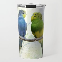 Digital Painting of Two Budgerigars Perching On A Branch Travel Mug