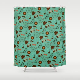 Colorful Hipster Elements Pattern on green Shower Curtain