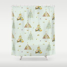 Critters Creating Christmas Trees Shower Curtain