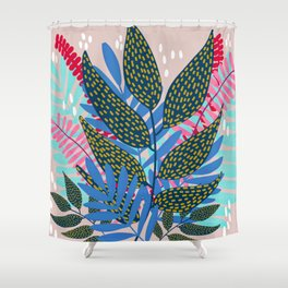 Blue Pink and Gold Vines and Leaves Shower Curtain