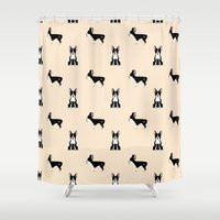 boston terrier Shower Curtains featuring Boston Terrier by Luiza Sequeira