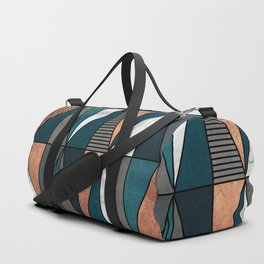 Copper, Marble and Concrete Triangles with Blue Duffle Bag