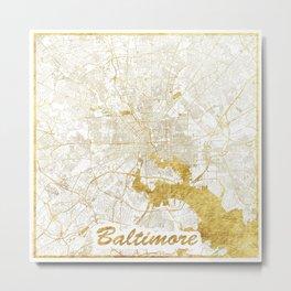 Baltimore Map Gold Metal Print