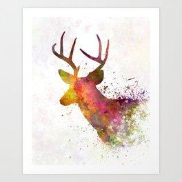 Male Deer 02 in watercolor Art Print