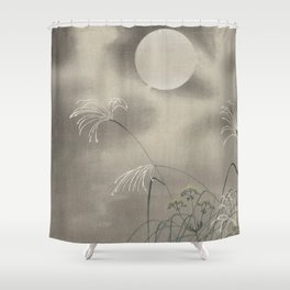 Meadow and full Moon - Vintage Japanese Woodblock Print  Shower Curtain