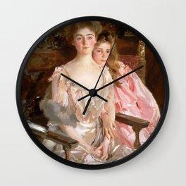 "John Singer Sargent  ""Mrs. Fiske Warren (Gretchen Osgood) and Her Daughter Rachel"" Wall Clock"