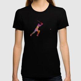 Cricket player batsman silhouette 04 T-shirt