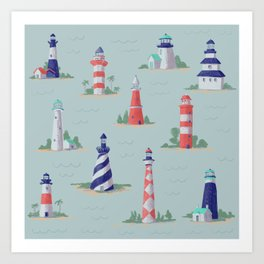 Nautical Lighthouses Coastal Print Art Print