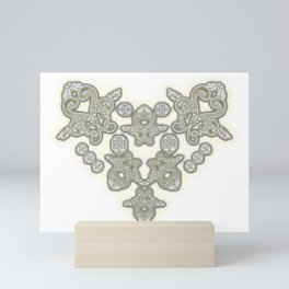 'Love 03' - Dutch heart of lace in grey and soft yellow Mini Art Print