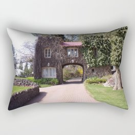 Beautiful Rock Building With Stone Path Through It Surrounded by Green Rectangular Pillow