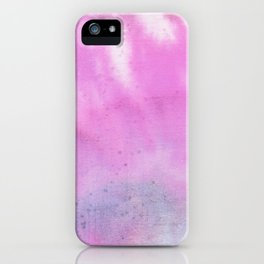 Modern neon pink lilac white abstract watercolor paint iPhone Case