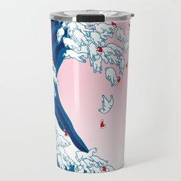 Christmas Llama Great Wave in Pink Travel Mug