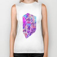 geode Biker Tanks featuring Handpainted Watercolor Geode by Hillary Murphy
