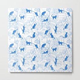 Blue cat street on white background Metal Print