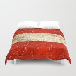 Vintage Aged and Scratched Austrian Flag Duvet Cover