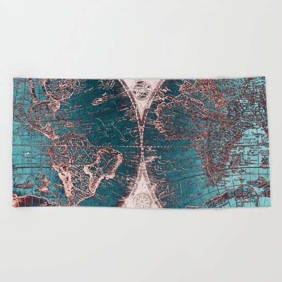 Antique World Map Pink Quartz Teal Blue by Nature Magick Beach Towel