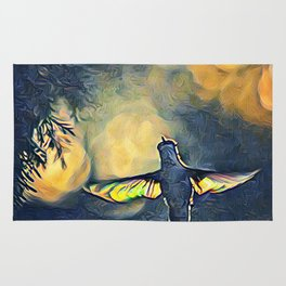 Golden Blue Hummingbird by CheyAnne Sexton Rug