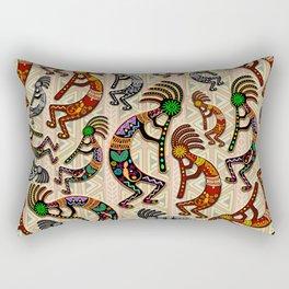 Kokopelli Rainbow Colors on Tribal Pattern  Rectangular Pillow