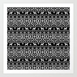 Bloodhound fair isle christmas sweater black and white minimal dog silhouette holiday gifts Art Print