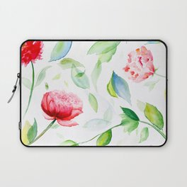 Watercolor flowers and leaves Laptop Sleeve