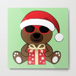 Cool Santa Bear with sunglasses and gift Metal Print