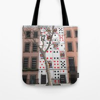 house of cards Tote Bags featuring House of Cards by AdamSteve