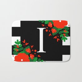 I - Monogram Black and White with Red Flowers Bath Mat