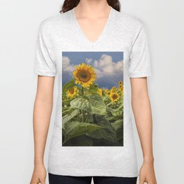Blooming Sunflowers against a Cloudy Blue Sky Unisex V-Neck