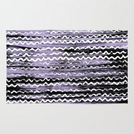 Geometrical lilac black white watercolor brushstrokes Rug