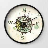 compass Wall Clocks featuring compass by JesseRayus
