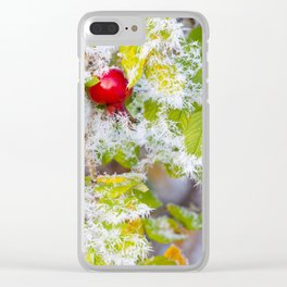 Rose hip and frozen leaves Clear iPhone Case