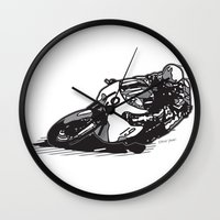 cafe racer Wall Clocks featuring RACER 19 by Ernie Young