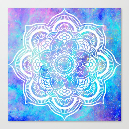 Mandala Pink Lavender Aqua Galaxy Space Canvas Print