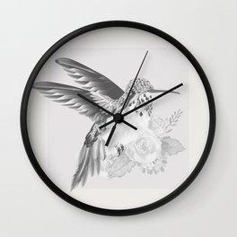 Hummingbird Brushed Nickel Wall Clock