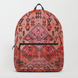 N52 - Pink & Orange Antique Oriental Traditional Moroccan Style Artwork Backpack