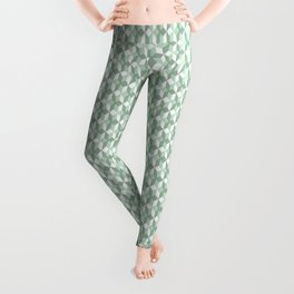 Abstract geometrical  forest mint green white pattern Leggings