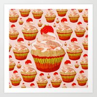 cupcakes Art Prints featuring Cupcakes by @yourachingart_cfs