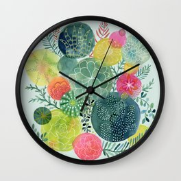 Succulent Circles Wall Clock