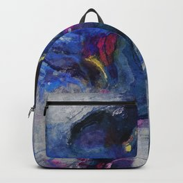 Contemporary Abstract Art in Blue and Yellow Backpack
