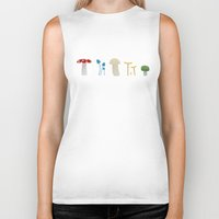 mushrooms Biker Tanks featuring Mushrooms by Becky Gibson