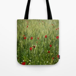 Red Poppies Growing In A Corn Field  Tote Bag