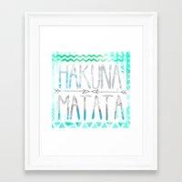 hakuna Framed Art Prints featuring Hakuna Matata by Sara Eshak