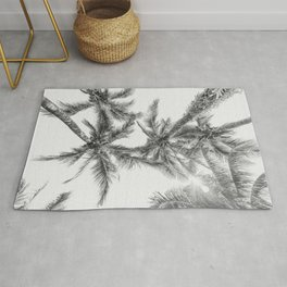 Tropical Palm Tree Black and White Photography Rug
