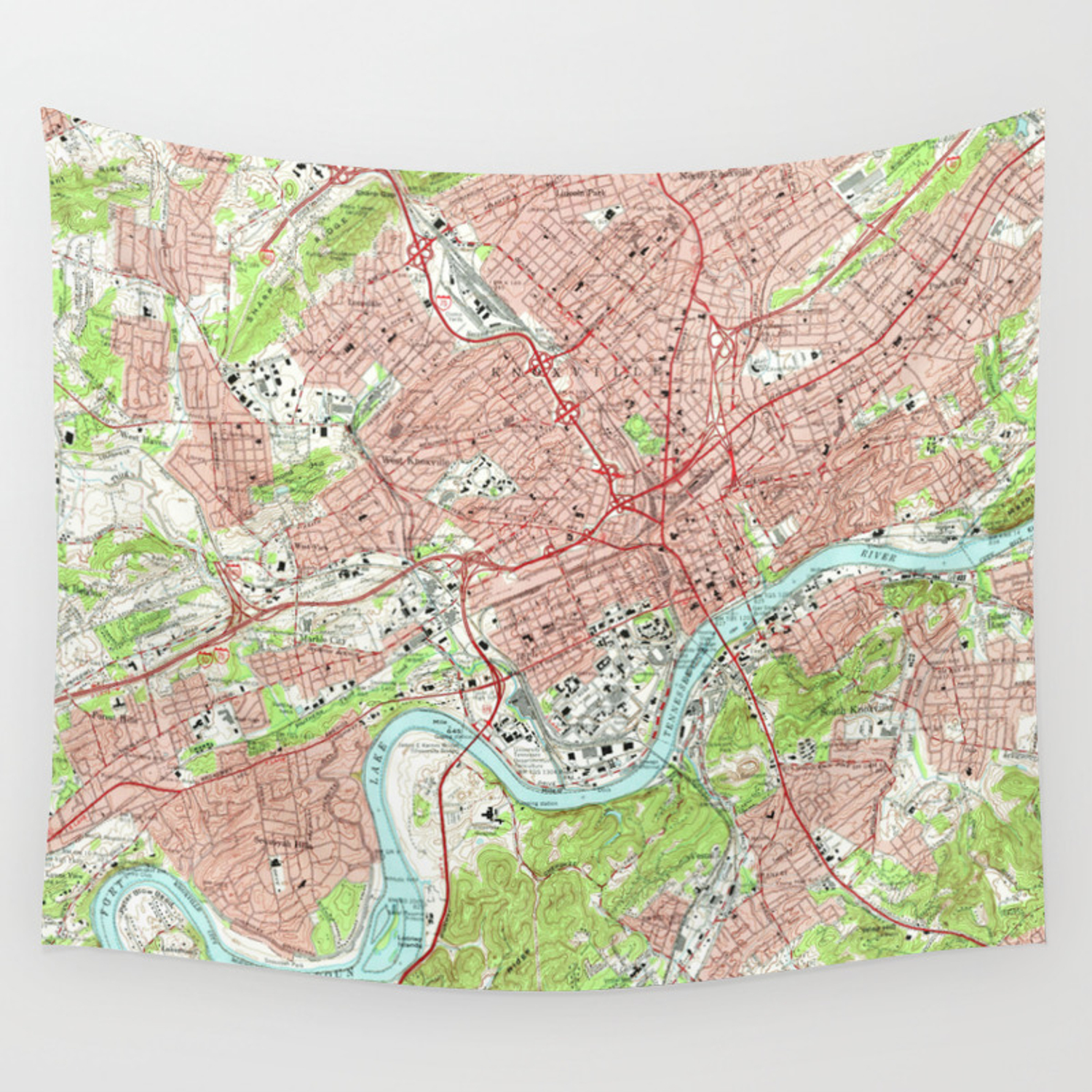 Vintage Map Of Knoxville Tennessee 1966 Wall Tapestry By Bravuramedia Society6