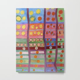 Colorful Grid Pattern with Numerous Circles Metal Print