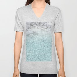 Pretty Turquoise Sparkles on Gray and White Marble Unisex V-Neck