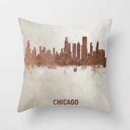Chicago Illinois Rust Skyline Throw Pillow