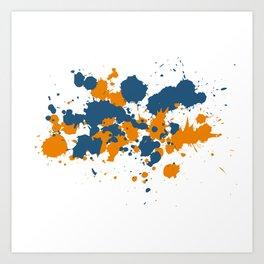 Blue and Orange Ink Splashes  Art Print