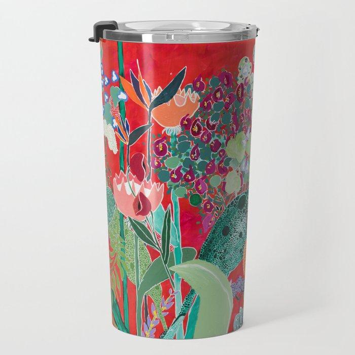 Red floral Jungle Garden Botanical featuring Proteas, Reeds, Eucalyptus, Ferns and Birds of Paradise Travel Mug